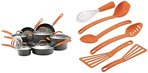 Rachael Ray Brights Hard Anodized Nonstick Cookware Set with Glass Lids 14 Piece Pot and Pan product image