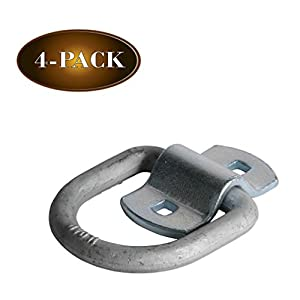 Four 1/2″ D Ring Tie-Down Anchors with Bolt-on Clip, Secure Cargo Tiedowns with Heavy Duty Silver Steel D-Rings
