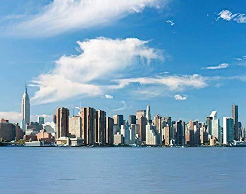 Landscape DIY Jigsaw Puzzles, View of The New York from Hudson River Puzzles de madera para adultos, los mejores juegos familiares de descompresión para niños 15.7 * 23.6 pulgadas 500 piezas