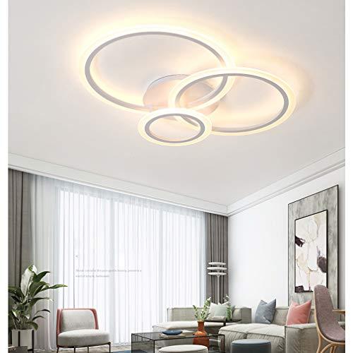 LED Lámpara De Techo Moderna Salón Lamp Mesa Comedor Luces Colgantes Regulable 3 Anillo Diseño Lámpara Con Mando a Distancia Oficina Techo Lámpara Cuarto de Los Niños Interior Lámpara Blanco L67cm