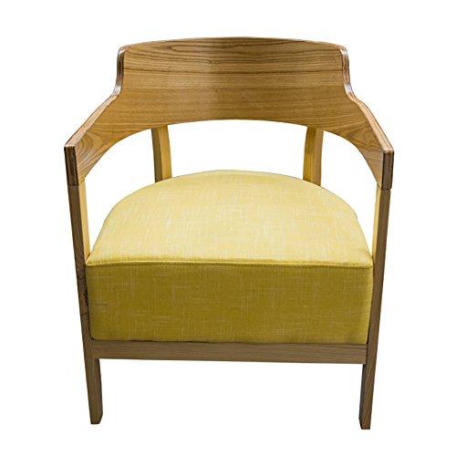 Knipperende moderne houten fauteuil zachte spons kussen voor lange termijn gebruik zonder vervorming Eetkamerbank H75cm Geel