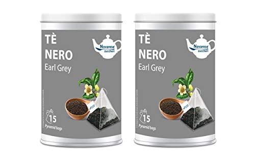 Novarese Zuccheri Tè Nero Earl Grey, 2 Barattoli con 15 Filtri Piramidali da 2.25G - 67.5 gr