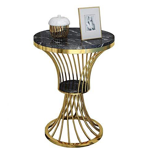 Home&Selected fineer/ronde sidetafel, voor woonkamer, sofa, balkon, marmer, hoektafel, nachtkastje, tafel, slaapkamer, goud, 21,6