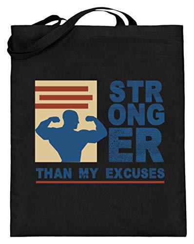 Hochwertiger Jutebeutel (mit langen Henkeln) - Stronger Than My Excuses - Stärker Als Meine Ausreden Gym - Schlichtes Und Witziges Design