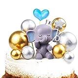 Vodolo Blue Elephant Cake Topper - Cute Resin Baby Elephant & Gold...