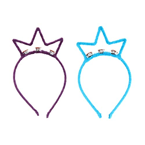 Happyyami 2 Stücke Krone Stirnband Led Haarkrone Haarbänder Leuchtende Kopfschmuck Haarschmuck Valentinstag Ostern Gastgeschenke (Blau + Lila)