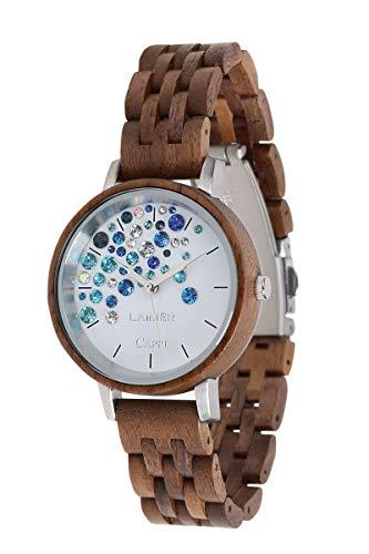 LAiMER Holzuhr - Armbanduhr Capri WALNUSS aus Massivholz - analoge Damen Quarzuhr mit Kristalle von Swarovski - Ø 36mm - Zero Waste Verpackung aus Naturholz