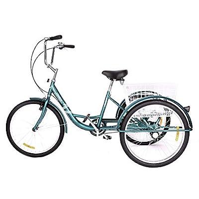 Viribus Three Wheel Tricycle Adult Trike Bike Cruiser with XL Rear Basket Bell Waterproof Bag for Dogs or Groceries Single Speed Comfort Hybrid Commuter Exercise Bike (Green/24)