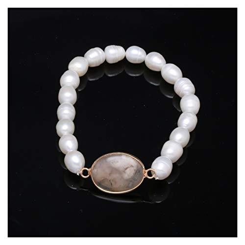 HAIXUE Irregular Natural Freshwater Rice-shaped Pearl 8-9 Mm Bracelet Charms For Women Romantic Love Gift (Metal Color : Style C)