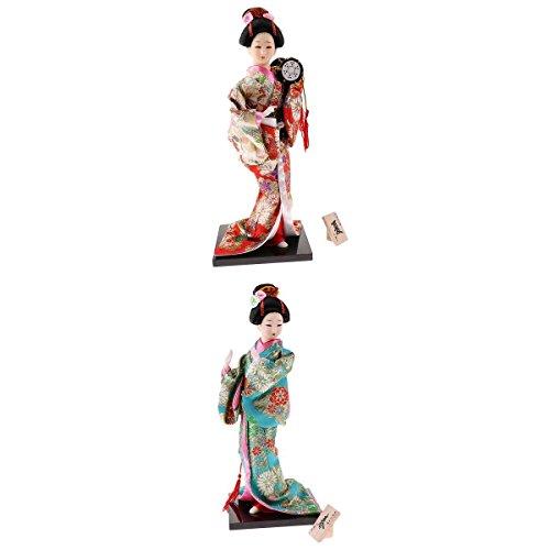 non-brand 2 Piezas Muñecas de Kimono Geisha de Japonés 12 Plug. Ornamentos Artesanales para Hotel Coche Hogar