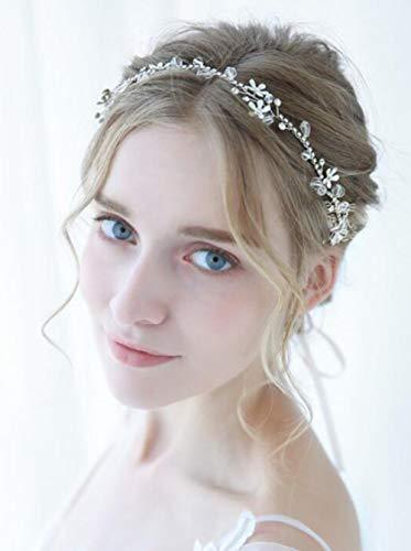 FXmimior Handgefertigte Hochzeit Blume Haarschmuck Kristall Kopfbedeckung Strass Stirnband Schmuck für Frauen Blume Stirnband für Frauen Diadem Hochzeit Zubehör Abschlussball Haarschmuck