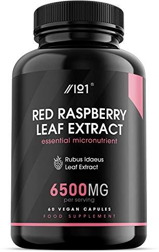 Raw Red Raspberry Extract - 6500mg - 100% Rubus Idaeus Leaf Extract, 60 Vegan Capsules - No Additives — Non-GMO, Gluten Free. (1)