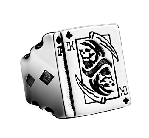 NA Scythe Death Playing Cards Stainless Steel Rings for Mens
