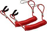 KeylessOption PWC Jet Ski WaveRunner Key Lanyard Stop Kill Switch Safety for Yamaha (Pack of 2) (Red)