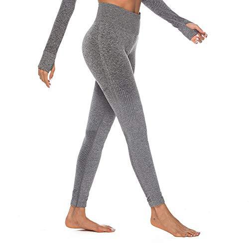 Eaylis Damen Hohe Taille Sport Leggings, Damen Farbverlauf Sport Leggings, Yoga Sporthose, Damen Leggings, Classics Stretch Workout Fitness Jogginghose (Grau, Small)