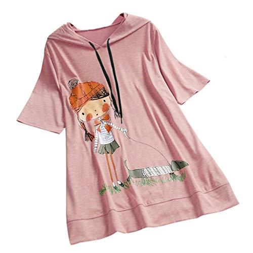 Dosoop Women Summer Casual Loose Hooded Pullover Cute Cartoon Print Short Sleeve Plus Size Top T-Shirt Blouse Tunic