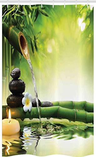 ABAKUHAUS Spa Schmaler Duschvorhang, Meditationssteine Bambus, Badezimmer Deko Set aus Stoff mit Haken, 120 x 180 cm, Mehrfarbig