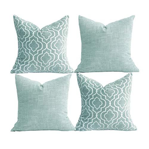 Oirpro Decorative Pillow Covers Chenille Plush Velvet Pillow Covers Quatrefoil Geometric Trellis Chain Both Sides for Sofa Couch Bed 18x18 inch Set of 4 Duck Egg
