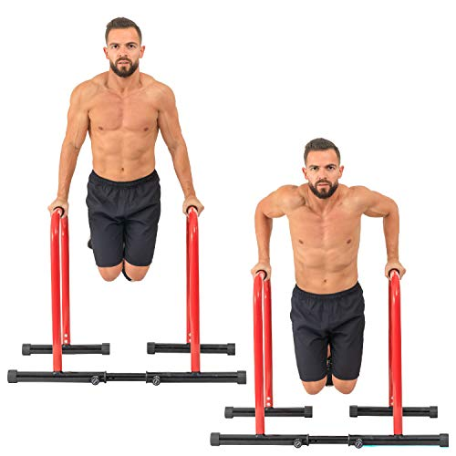 GoBeast Dip Stand Station, Adjustable Height & Width, Strength Training Home Gym Equipment for Tricep Dips, L-Sits & Pull Ups, Calisthenics Workout