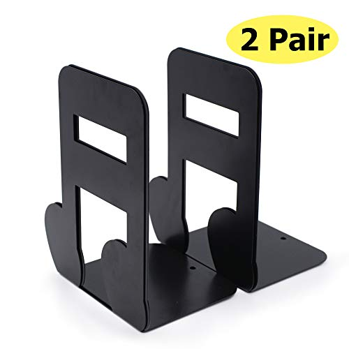 Bookends Black,Decorative Metal Book Ends Supports for Shelves (Music Notation bookends 4)