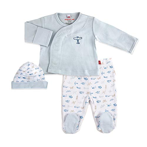Magnetic Me 100% Cotton Magnetic Kimono Baby Clothing Outfit 3-Piece Set Shirt, Footed Pants, Hat Airplane 0-3 Months