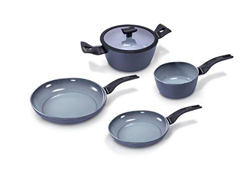 Moneta Aria Finegres Grill Parrilla, Aluminio, Gris, Batería de Cocina 5 piezas, para todo tipo de cocinas incluida inducción