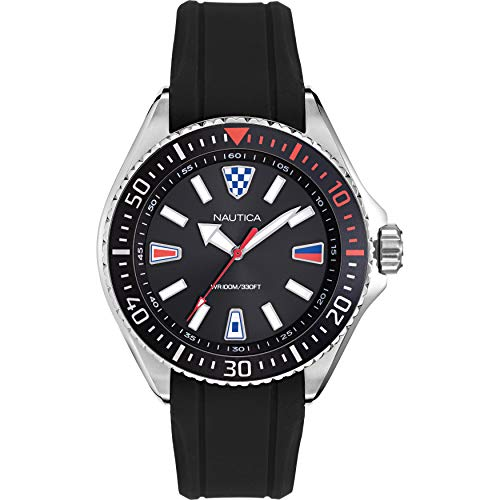Nautica Men's NAPCPS903 Crandon Park Black/Silver Silicone Strap Watch - http://coolthings.us