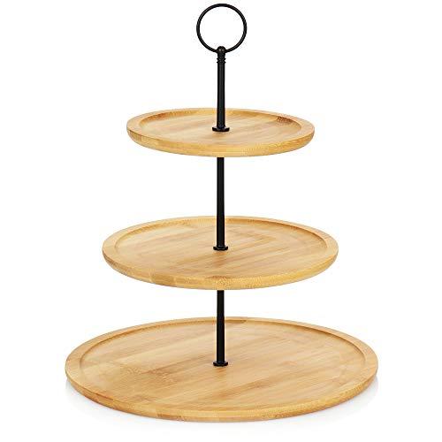 com-four® Etagere aus Bambus - Kuchen-Etagere mit 3 Ebenen - Servier-Ständer für Gebäck, Pralinen, Käse oder Obst (1 Stück - Bambus - Höhe 34cm)