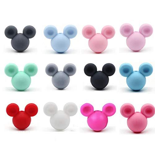 Zonster Cuentas de Silicona 10pcs Mickey Cuentas para la dentición del bebé Chew Haciendo Producto Colgante, Collar de Silicona de Grado alimenticio Libre de BPA Chupete (Color al Azar)