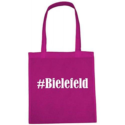 Tasche #Bielefeld Größe 38x42 Farbe Pink Druck Weiss