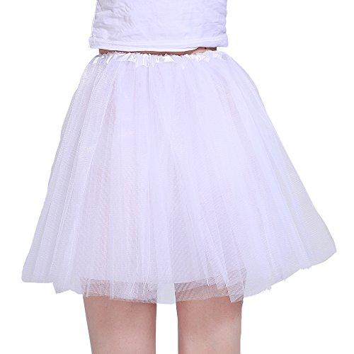 iLoveCos 80er Jahre Neon Tütü/Tutu/Tüllrock/Unterrock Petticoat Rüschen Geschichteten Pink Regenbogen Rot Rock Kleid Kostüm 1980er Jahre Neon Fancy Dress Outfit Zubehör für Kinder (White)