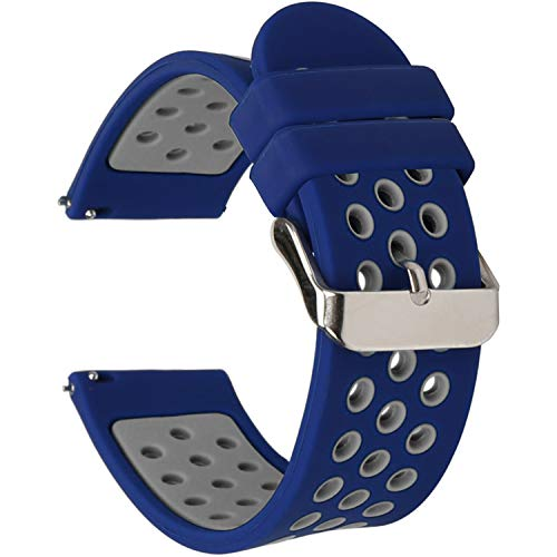 Universal 18mm 20mm 22mm 24mm Width Silicone Watch Band Replacement, Choose Size and Color (20mm, Dark Blue-Grey)