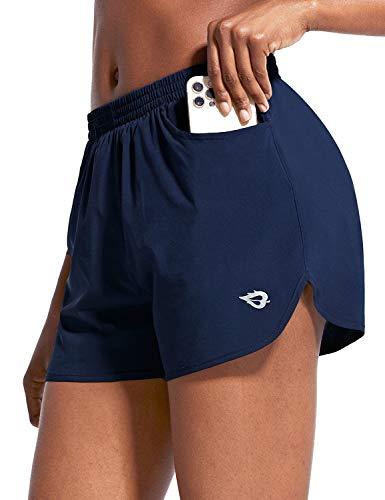 BALEAF Damen Laufshorts Trainingsshorts Kurz Sporthose mit Eingrifftasche für Running Freizeit Fitness Navy S