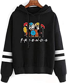 Friends Print Pockets Hoodies Pullover Long Sleeve Tops Fleece Sweatshirt for Unisex