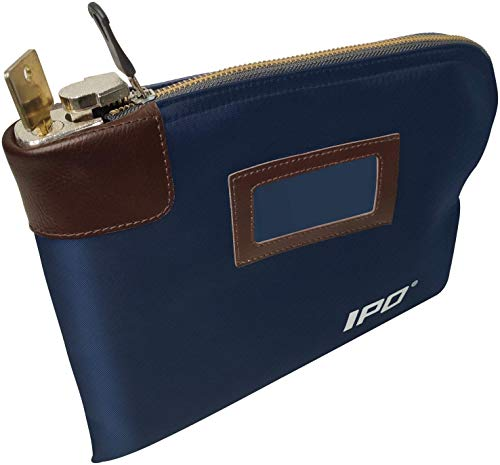Waterproof Cash Bag with Lock and 2 Keys, 11 x 8.6 Inches, Canvas Documents Bag, Money Bank Deposit Bag with Zipper, Durable Leatherette Money Cash Coin Check Wallet Pouch for Men & Women