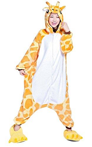 misslight Giraffe Pyjama Damen Jumpsuits Tieroutfit Tierkostüme Schlafanzug Tier Sleepsuit mit Giraffe Kostüme Festival tauglich Erwachsene (S, Giraffe)