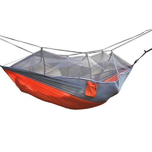 Blackr Multifonctionnel Portable Double Personne à Suspendre Couchage lit extérieur Moustiquaire Hamac pour Camping randonnée Voyage 260x140cm / 260x130cm Grey+Orange