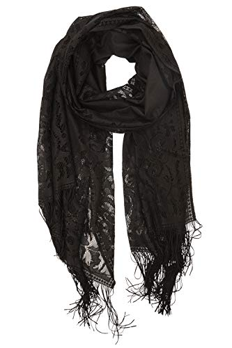 YOUR SMILE Ladies/Women's Lightweight Solid Color Fringe Lace Tassels Long Shawl Scarf For Spring Summer Fall (Black)