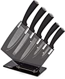 Tower Kitchen Knife Set with Acrylic Knife Block, Black and White Groove Blades