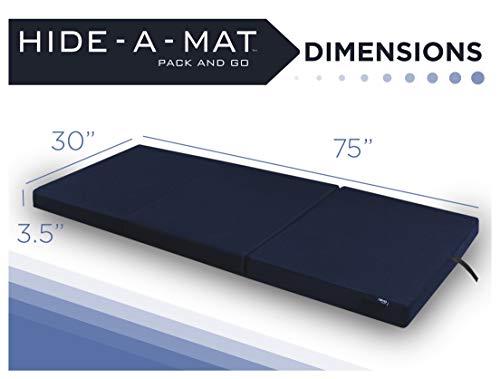 American Furniture Alliance Hide A' Mat 3.5 x 30 x 75 inch Jr Twin TriFold Mattress, Navy
