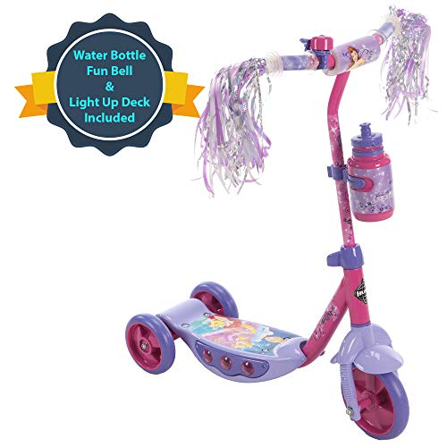 Huffy Disney Princess Preschool Scooter W/Lights, Streamers & A Water Bottle