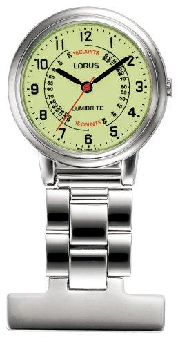 Lorus Lorus orologio da taschino–argento con quadrante giallo unisex in acciaio INOX argento orologio da tasca al quarzo con display Yellow Dialanalogue RG253CX9