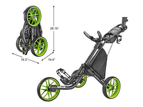 CaddyTek CaddyLite EZ Version 8 3 Wheel Golf Push Cart - Foldable Collapsible Lightweight Pushcart with Foot Brake - Easy to Open & Close