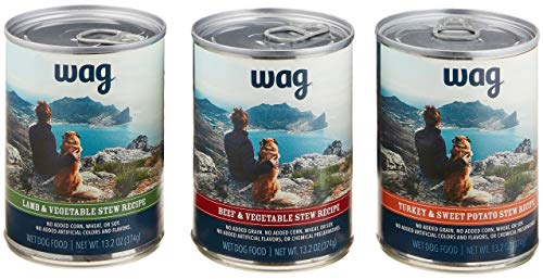 Amazon Brand - Wag Wet Canned Dog Food, Variety Pack Stew (Lamb, Beef, Turkey), 13.2 oz Can (Pack of 12)