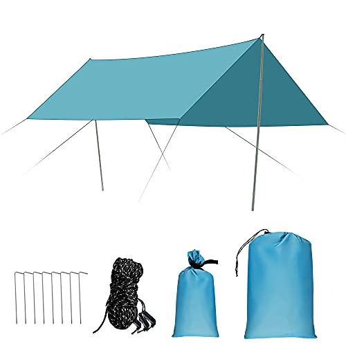 Toldo Camping Impermeable, 3x3M Ripstop Rain Tarp Beach Tent de Tela Oxford Impermeable de 2000 mm Hamaca Tienda de Campaña con Accesorios Protector Aolar Anti-Viento para Acampar Senderismo,Azul