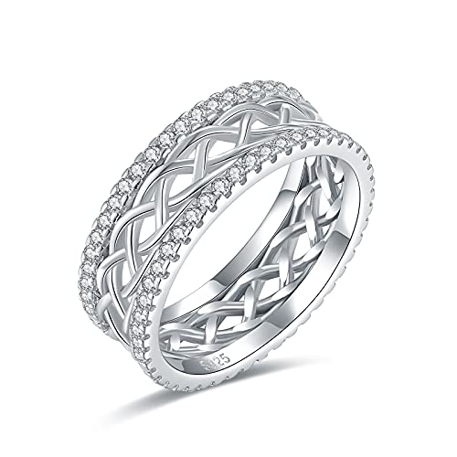 Celtic Knot Eternity Love Rings - Bolelis 925 Sterling Silver CZ Criss Cross Knot Ring Wedding Band Celtics Jewelry for Women Her Girlfriend Wife Size 6-8 (8)
