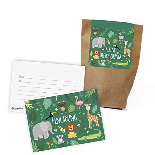 """12x \""""Dschungel / Zoo\"""" Einladungskarten + Partytüten - Set zum Kindergeburtstag / Dschungelparty / Einladungen / Mitgebseltüten / Geschenktüten / Give-aways / Kinder / plastikfrei / klimaneutral / Set"""