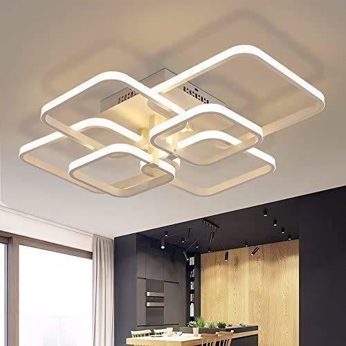 Woodtree Luces de Techo del rectángulo de Aluminio de acrílico Moderna LED for la lámpara de la Sala de Estar Dormitorio AC85-265V Techo Blanco Accesorios, 6 Cabezas, [Clase energética A]