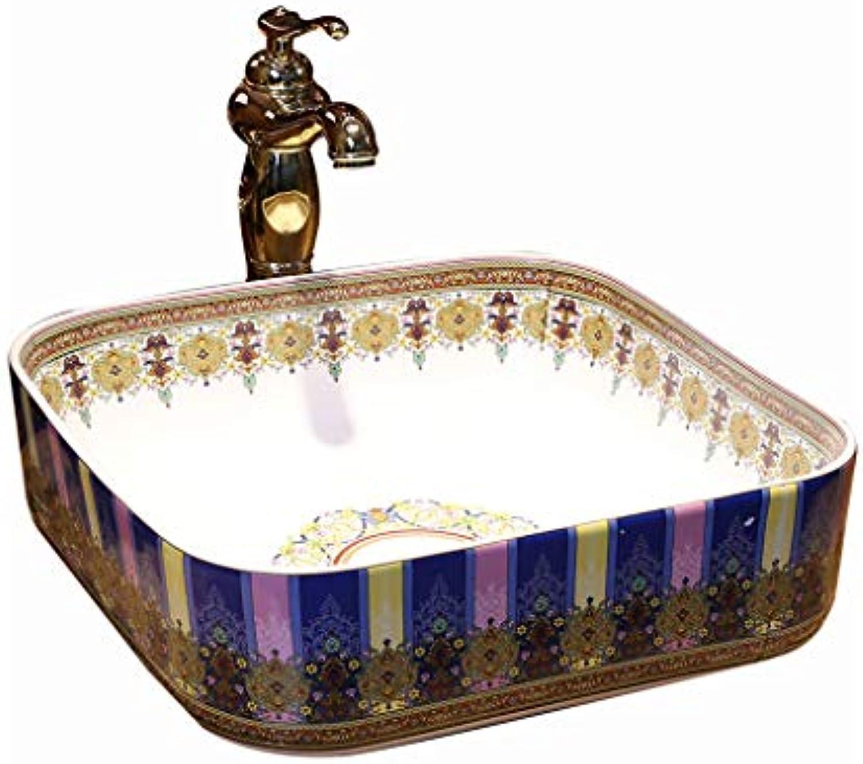 Jingdezhen-Keramik-Hotel-Anti-Spritzwaschbecken des quadratischen Waschbeckens des Badezimmers Retro- kreatives Waschbecken