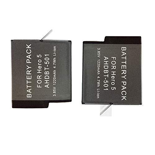 ALIKEEY Accessoires 2-pack oplaadbare lithium-ion batterij voor GoPro Hero 5 6 7